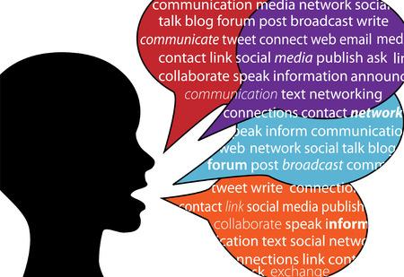 bouche homme: Une personne parle des mots de la communication sociale dans les bulles de discours de texte
