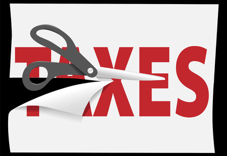 Tax cutting scissors cut high TAXES in half on a page of paper.