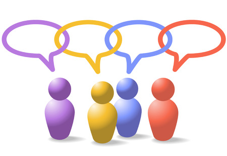 A group of four people symbols talk in social media speech bubbles which form a network link chain Vectores