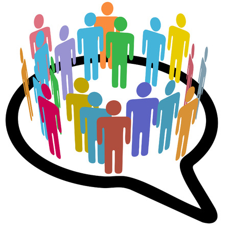 diverse business team: An inner circle of colorful diverse people join to meet in a social media speech bubble