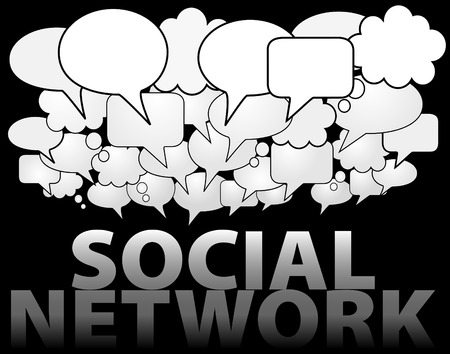 communication cartoon: A cloud of SOCIAL NETWORK media speech and thought bubbles as symbol of communication Illustration