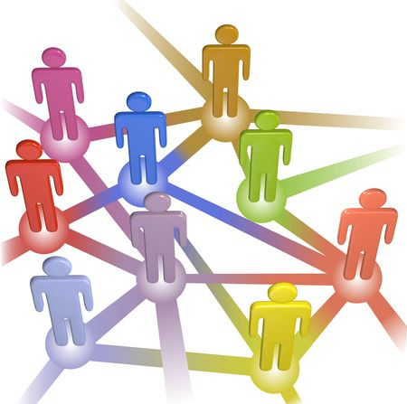 complex system: A team or company of stick figure symbol people connect in nodes of a social media or business network