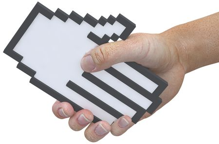 technology deal: A hand shape pixel cursor shake hands with a 3D user in a tech friendly handshake as man and computer team up.