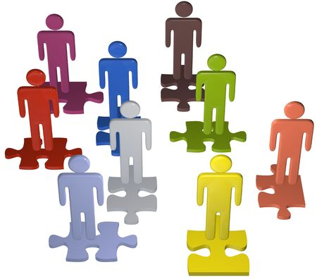 Human resources issues and other people concepts as 3D stick figure symbols on jigsaw puzzle pieces. 스톡 콘텐츠