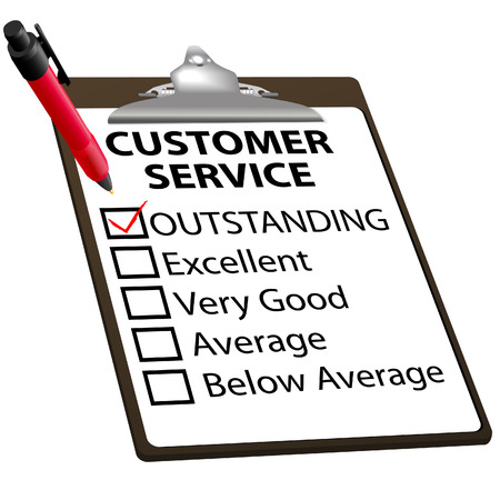 CUSTOMER SERVICE evaluation for quality with red check mark in OUTSTANDING box with clipboard and red ink pen. Vector
