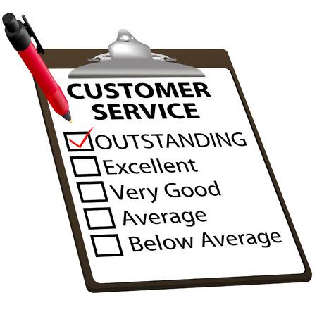 evaluation: Kundendienst-Bewertung f�r Qualit�t mit roten H�kchen in herausragende Box mit Zwischenablage und roter Tinte Stift.