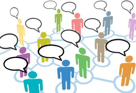 connection: A group of diverse people talk in social media speech communication network connections