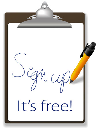 guests: Icono de l�piz y portapapeles invita a haga clic en el v�nculo y Suscr�base de forma gratuita para unirse a su sitio Web, agregar texto y gr�ficos en el espacio de la copia de fondo.