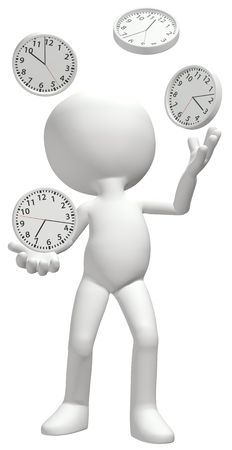 A clock juggler juggles four time clocks to manage a busy schedule Stock Photo - 8172950