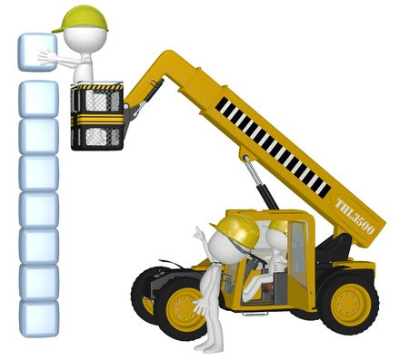 Construction people use 3D heavy equipment building a stack of cube boxes as copy space or symbols photo