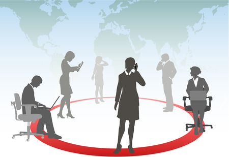 round chairs: Business people connect smart phone touch computer tablet laptop in a media network Illustration