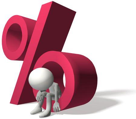 Een 3D-lener is gekwetst door rente procent op persoonlijke schuld of investeringen Stockfoto - 8220610