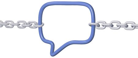 chained link: Chains pull to break strong social media link in a 3D speech bubble connection Stock Photo