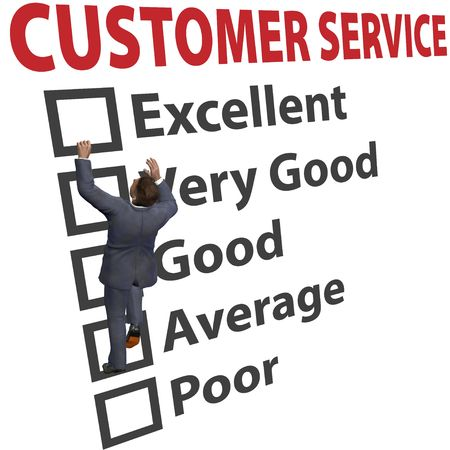 customer survey: Business man climbs up a 3D CUSTOMER SERVICE form to increase his client satisfaction rating