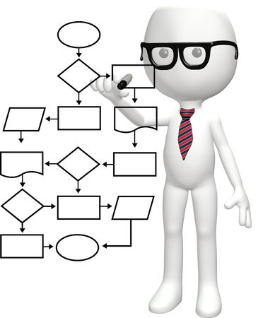 A cartoon nerd genius programs a smart flowchart process management system