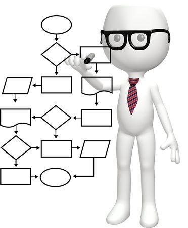 Un sistema de gesti�n de proceso de diagrama de flujo inteligente de programas de un genio de nerd de dibujos animados  Foto de archivo - 8220609