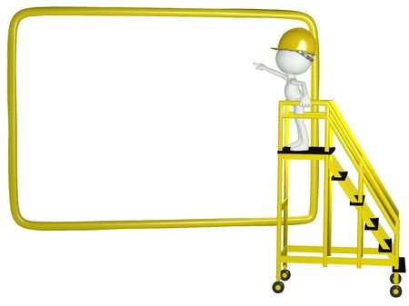 A construction worker stands on mobile ladder to point at copy space on a big 3D sign Stock Photo - 8220607