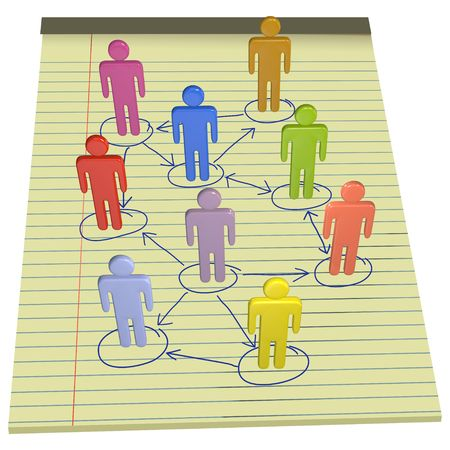 A team or company of 3D stick figure symbol people connect in nodes of a business network drawn on legal pad photo