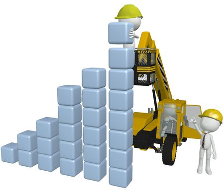 Construction people build a business chart from stacks of cubes using 3D heavy equipment
