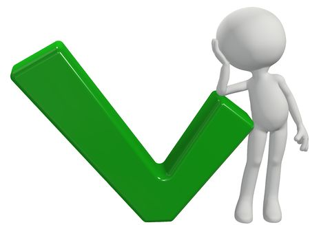 symbol: A cartoon 3D symbol person rests his elbow on a green OK check mark Stock Photo