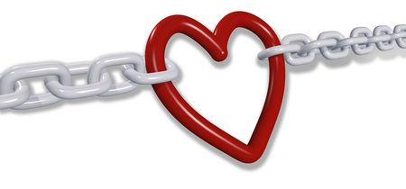 Chains of love tug romantic heart Valentine symbol in two directions Stock Photo