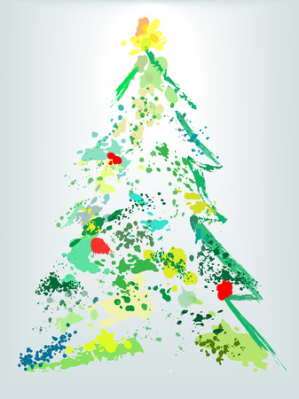 watercolour: A Christmas tree splatter shape of  paint drops as decoration ornaments on an abstract holiday painting