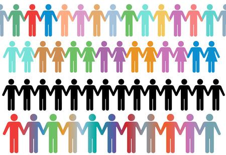 figuras abstractas: Filas de gente de s�mbolo de diversa palo de figura y las parejas tienen manos como bordes o l�neas