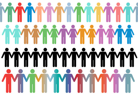 Rows of diverse stick figure symbol people and couples hold hands as borders or lines Illustration