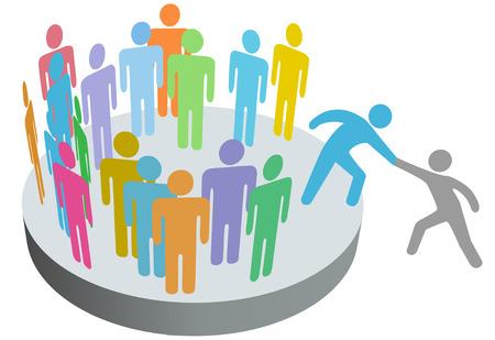 Un amigo ayuda a una persona a unirse a un equipo de club de empresa o de otro grupo.  Ilustración de vector