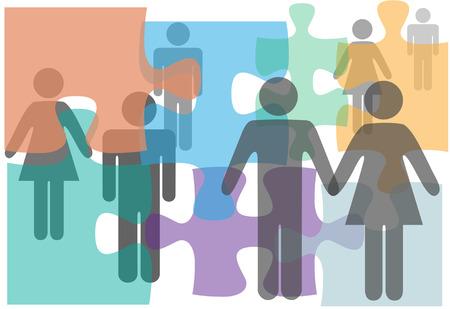Huwelijk counseling paren singles echtscheiding mensen in een puzzel abstract Stock Illustratie