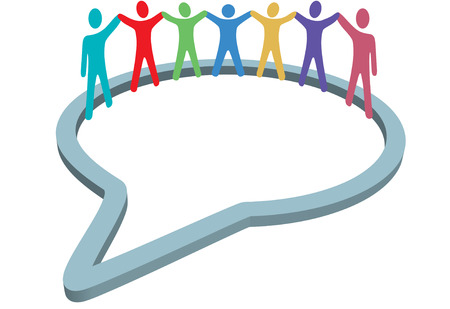 diverse business team: A group of diverse social media people gather inside a network speech bubble holding hands up. Illustration