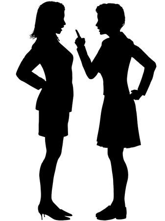 kommunikation: Two angry business women disagree yell fight in an argument.