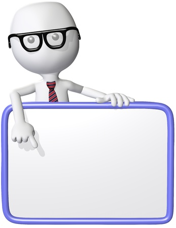 A cartoon nerd genius points at blank white copy space on a sign Stock Photo - 8434984