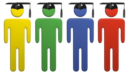 graduating seniors: College or high school symbol people students in black caps and school colors graduate. Stock Photo