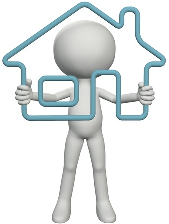 home owner: Home owner person looks through a 3D outline house real estate symbol in his hands