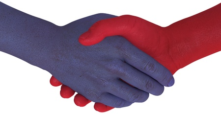Different sides in a deal or disagreement shake hands and agree to compromise