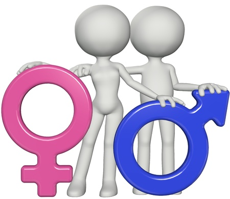 female sex: Boy and girl male female couple with  pink and blue gender sex symbols embrace arms around shoulders