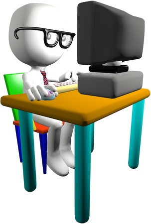 Nerd boy cartoon 3D PC user clicks a mouse types on computer keyboard at a desk