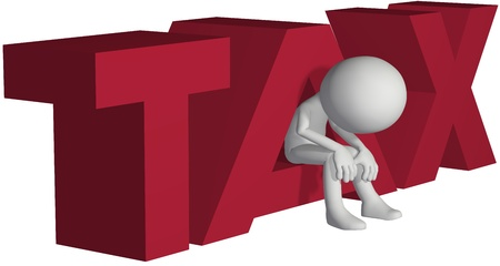 symbol victim: Taxpayer ruined bankrupt by high taxes sits in the word TAX
