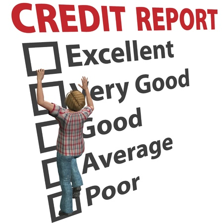 credit report: A young 3D woman debt consumer works to build up her credit score rating report