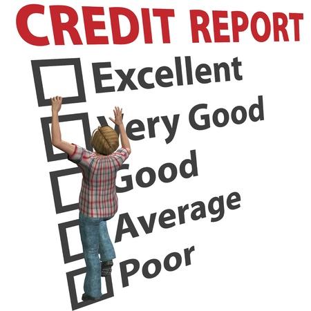 Un consumidor de deuda de joven 3D trabaja para construir su informe de calificación de puntuación de crédito Foto de archivo - 8435037