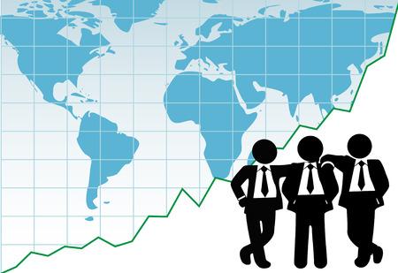 grafico vendite: Mondo leader team vendite di fronte un grafico finanziario di successo globale
