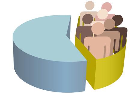 원형 차트 안에 통계 소수 집단의 상징으로 사람들의 다양한 그룹