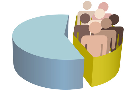 diverse business team: A diverse group of people as statistical minority population symbol inside a pie chart
