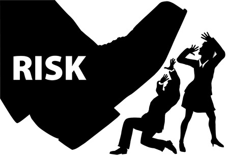 threat: Foot of RISK stops down to crush businessman and business woman people