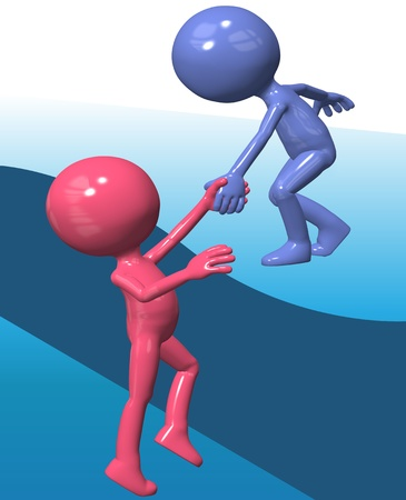Person gives a helping hand to lift a 3D friend up to a top level