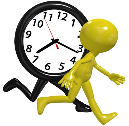 Een cartoon persoon een race tegen de klok van een tijd op een drukke dag wordt uitgevoerd