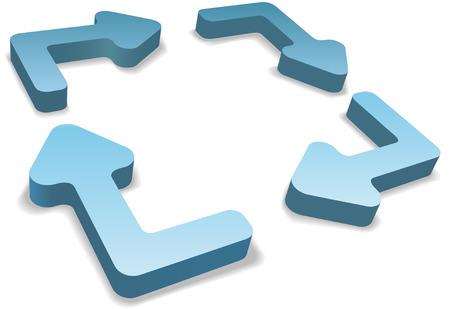 proceso: Cuatro redondeado las flechas de reciclaje o sistema de administraci�n de proceso como 3D con espacio de copia en el centro