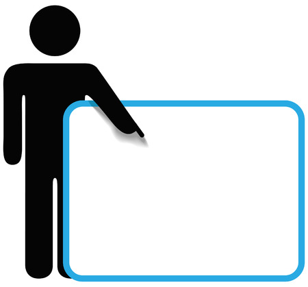 A stick figure person points a finger at the copy space on a sign Stock Vector - 8434970