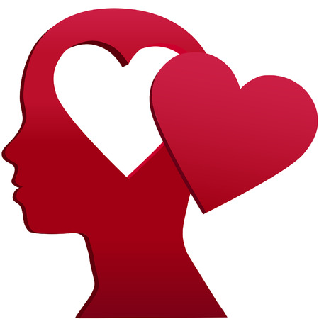 red heads: A girl with heart shape copy space hole in her head and Valentine love on her mind
